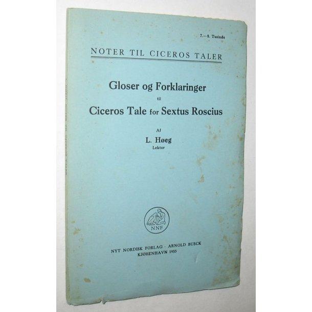 Gloser og Forkl. t.Ciceros Tale for Sextus Roscius