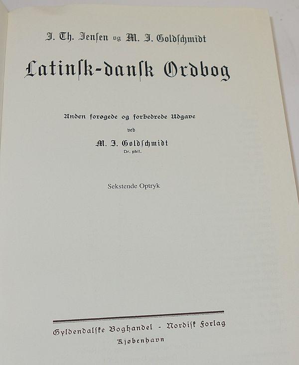 latinsk dansk ordbog jensen & goldschmidt